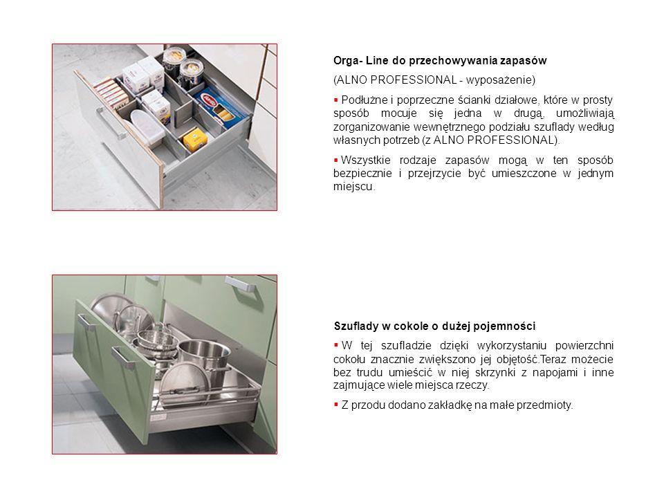 Orga- Line do przechowywania zapasów (ALNO PROFESSIONAL - wyposażenie) Podłużne i poprzeczne ścianki działowe, które w prosty sposób mocuje się jedna