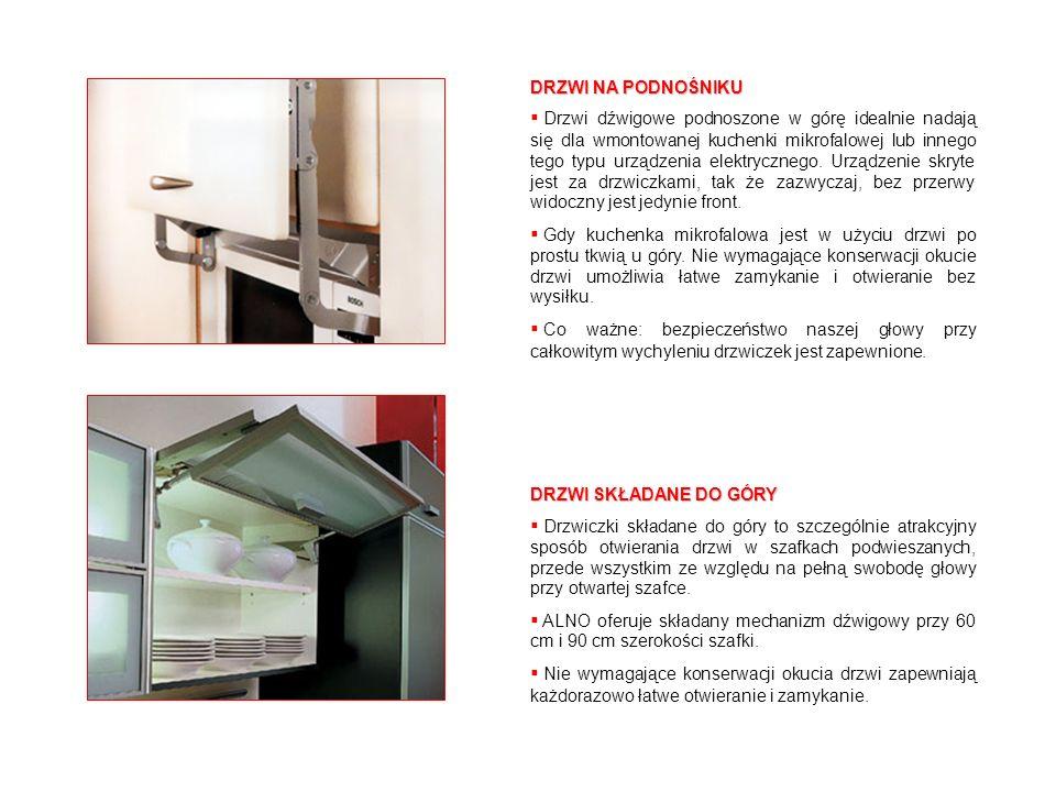 DRZWI NA PODNOŚNIKU Drzwi dźwigowe podnoszone w górę idealnie nadają się dla wmontowanej kuchenki mikrofalowej lub innego tego typu urządzenia elektry