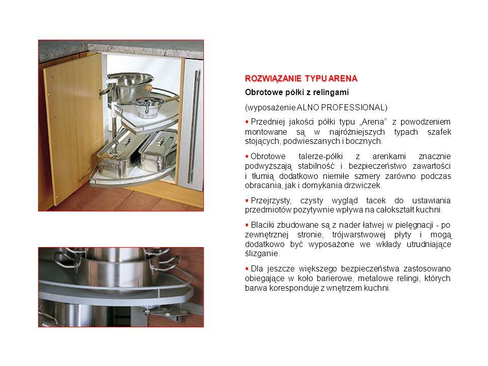 ROZWIĄZANIE TYPU ARENA Obrotowe półki z relingami (wyposażenie ALNO PROFESSIONAL) Przedniej jakości półki typu Arena z powodzeniem montowane są w najr