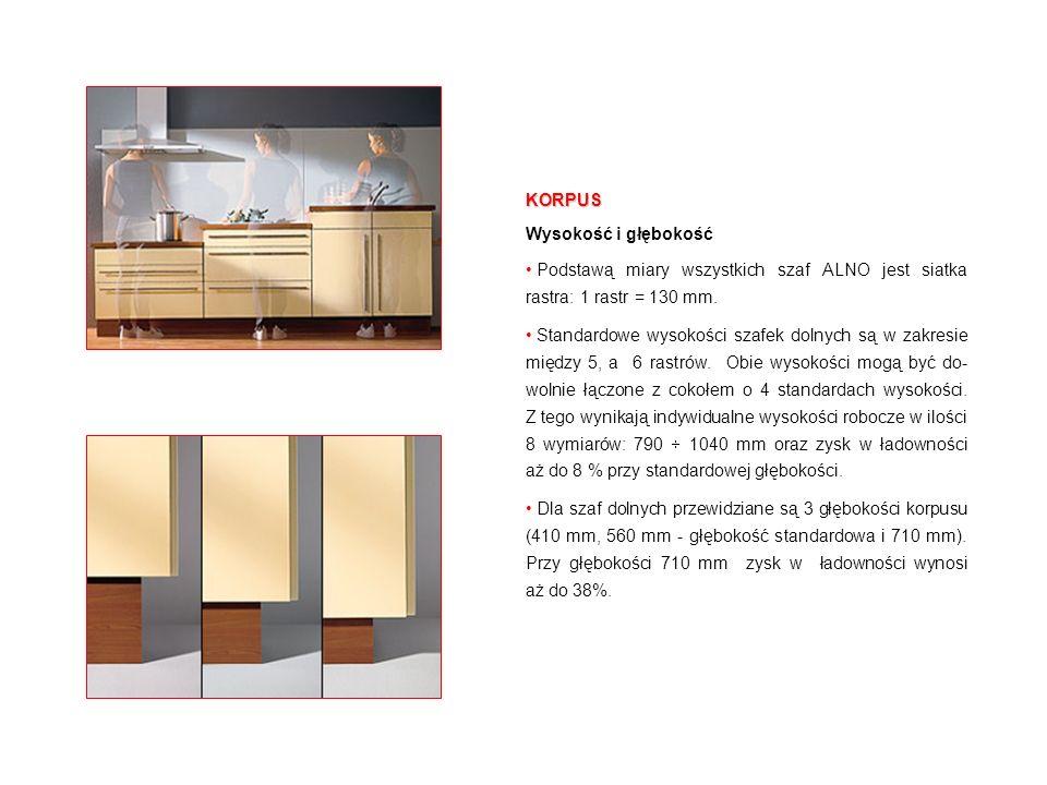 Jednolitym obraz kolorystyczny Górne i dolne boki szafek wiszących są dostosowane do aktualnej dekoracji korpusu, więc wszystkie widoczne powierzchnie korpusów w kuchni charakteryzują się jednolitą kolorystyką.