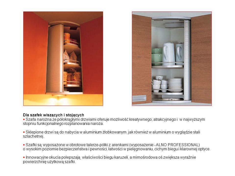 Dla szafek wiszących i stojących Szafa narożna ze półokrągłymi drzwiami oferuje możliwość kreatywnego, atrakcyjnego i w najwyższym stopniu funkcjonaln