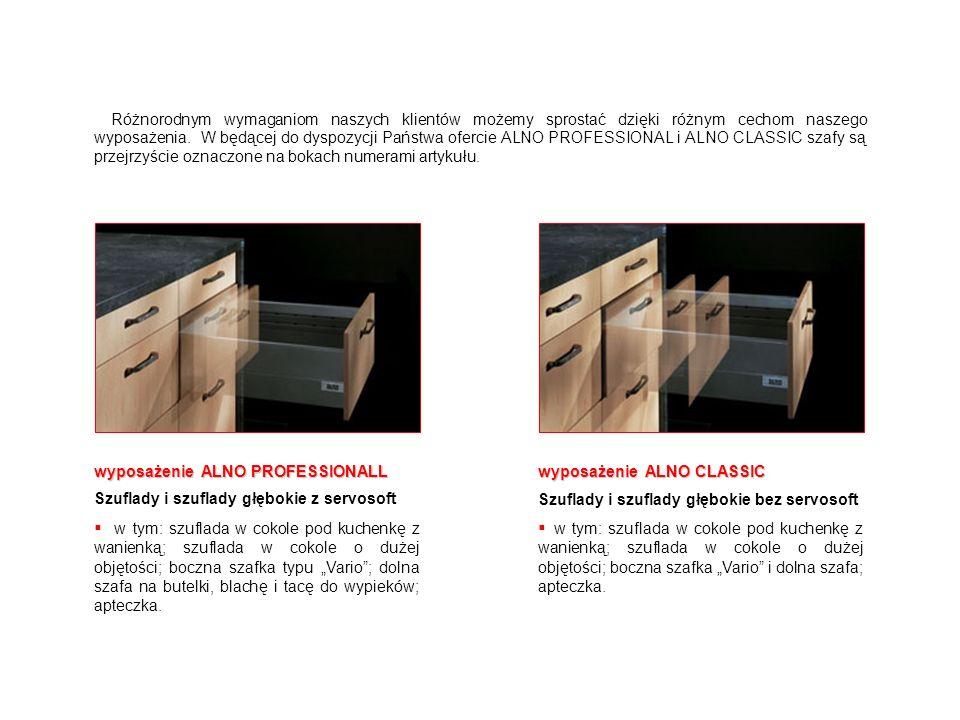 wyposażenie ALNO PROFESSIONALL Szuflady i szuflady głębokie z servosoft w tym: szuflada w cokole pod kuchenkę z wanienką; szuflada w cokole o dużej ob