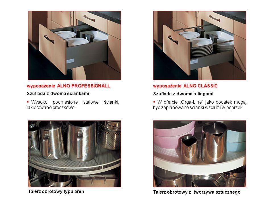 wyposażenie ALNO PROFESSIONALL Szuflada z dwoma ściankami Wysoko podniesione stalowe ścianki, lakierowane proszkowo. wyposażenie ALNO CLASSIC Szuflada