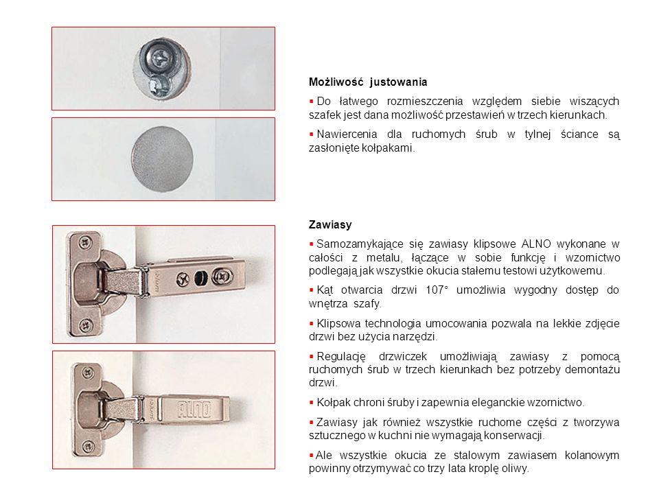 Elementy paneli niszowych Na funkcjonalnej szynie tylnej ścianki mogą być zawieszone następujące elementy: Blok z nożami Rolka ręczniczka papierowego lub folii Półka na pojemniki np.