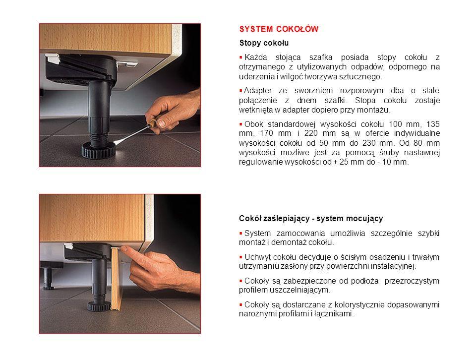 Szybki dostęp (Step Kick) Do otwierania pojedynczej, czy podwójnej szuflady na odpady proponujemy różne systemy szybko odrzucające drzwiczki, po naciśnięciu nogą specjalnego stopnia, dostępne dla wszystkich wysokości cokołu.