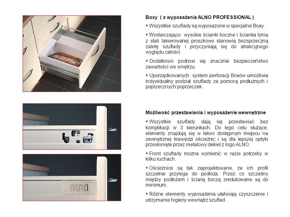 Boxy ( z wyposażenia ALNO PROFESSIONAL ) Wszystkie szuflady są wyposażone w specjalne Boxy. Wystarczająco wysokie ścianki boczne i ścianka tylna z sta