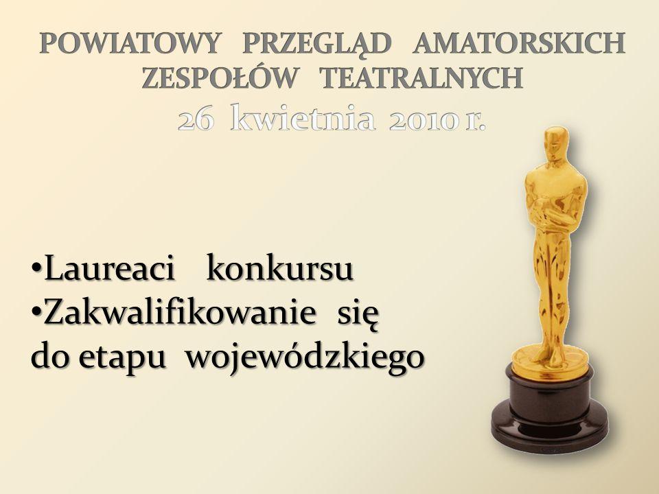 Laureaci konkursu Laureaci konkursu Zakwalifikowanie się do etapu wojewódzkiego Zakwalifikowanie się do etapu wojewódzkiego