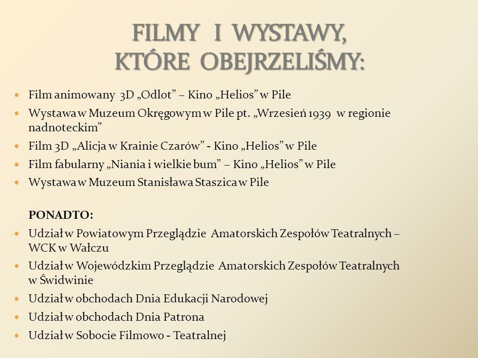 Film animowany 3D Odlot – Kino Helios w Pile Wystawa w Muzeum Okręgowym w Pile pt. Wrzesień 1939 w regionie nadnoteckim Film 3D Alicja w Krainie Czaró