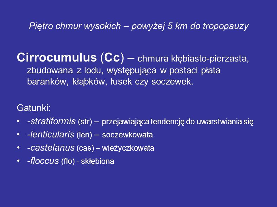 Piętro chmur wysokich – powyżej 5 km do tropopauzy Cirrocumulus (Cc) – chmura kłębiasto-pierzasta, zbudowana z lodu, występująca w postaci płata baran
