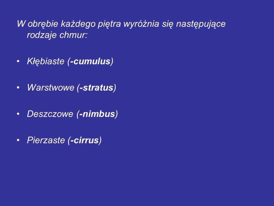 W obrębie każdego piętra wyróżnia się następujące rodzaje chmur: Kłębiaste (-cumulus) Warstwowe (-stratus) Deszczowe (-nimbus) Pierzaste (-cirrus)