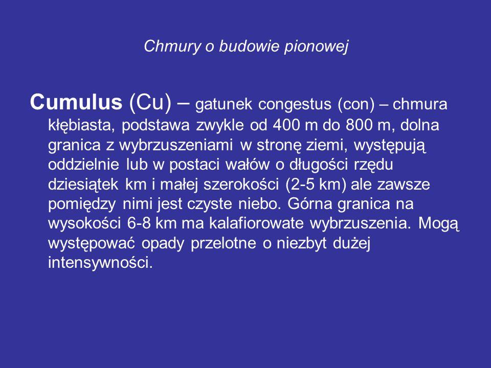 Chmury o budowie pionowej Cumulus (Cu) – gatunek congestus (con) – chmura kłębiasta, podstawa zwykle od 400 m do 800 m, dolna granica z wybrzuszeniami