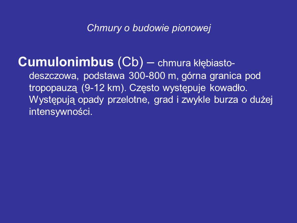Chmury o budowie pionowej Cumulonimbus (Cb) – chmura kłębiasto- deszczowa, podstawa 300-800 m, górna granica pod tropopauzą (9-12 km). Często występuj