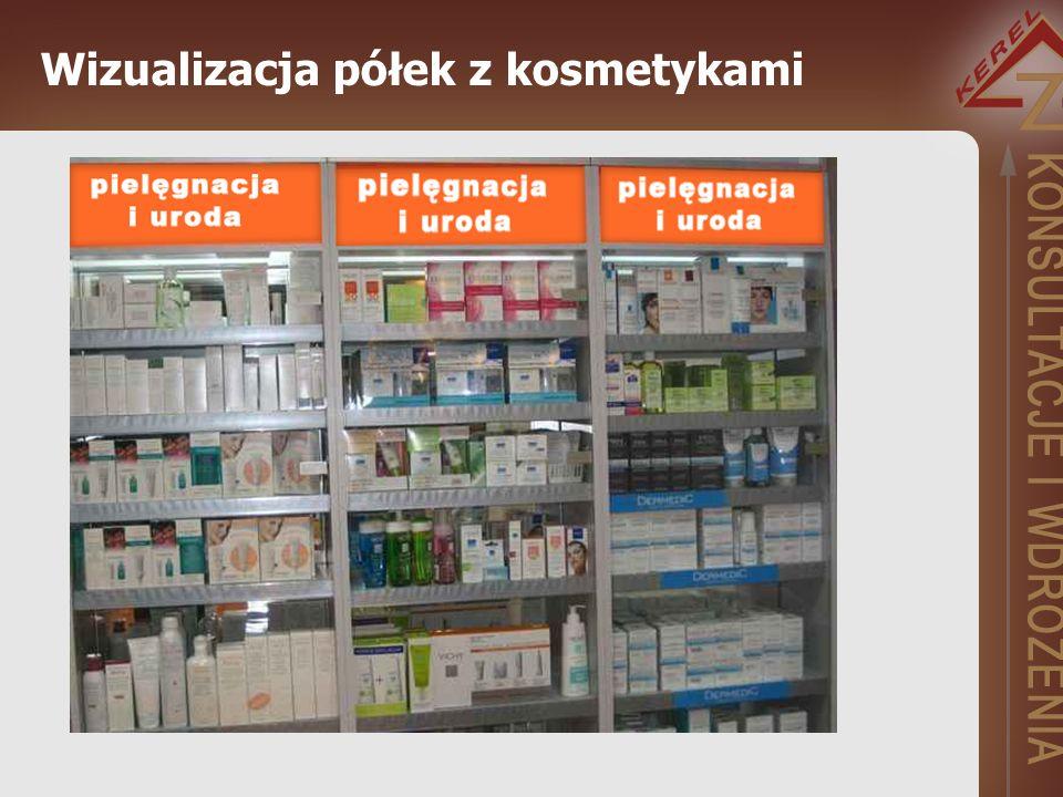 Wizualizacja półek z kosmetykami