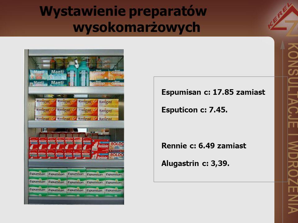 Wystawienie preparatów wysokomarżowych Espumisan c: 17.85 zamiast Esputicon c: 7.45.