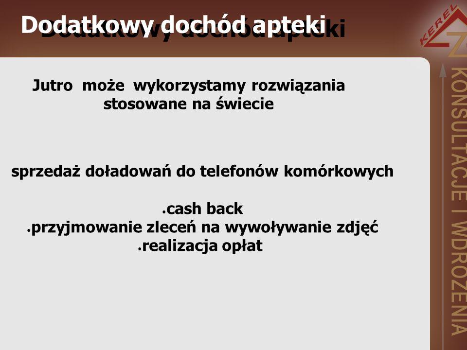 Jutro może wykorzystamy rozwiązania stosowane na świecie Dodatkowy dochód apteki sprzedaż doładowań do telefonów komórkowych cash back przyjmowanie zleceń na wywoływanie zdjęć realizacja opłat Dodatkowy dochód apteki