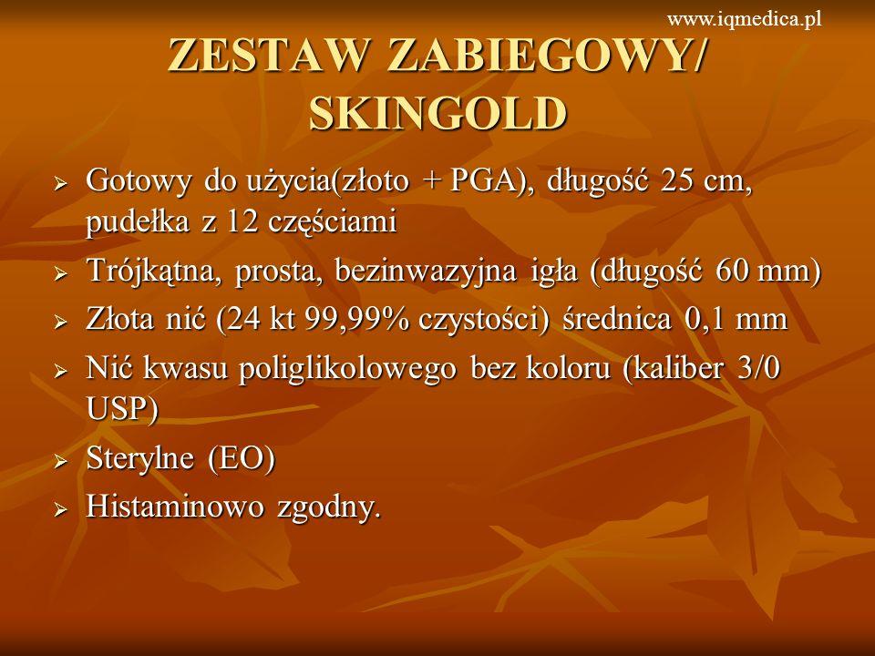 ZESTAW ZABIEGOWY/ SKINGOLD Gotowy do użycia(złoto + PGA), długość 25 cm, pudełka z 12 częściami Gotowy do użycia(złoto + PGA), długość 25 cm, pudełka