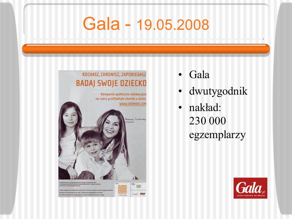 Gala - 19.05.2008 Gala dwutygodnik nakład: 230 000 egzemplarzy