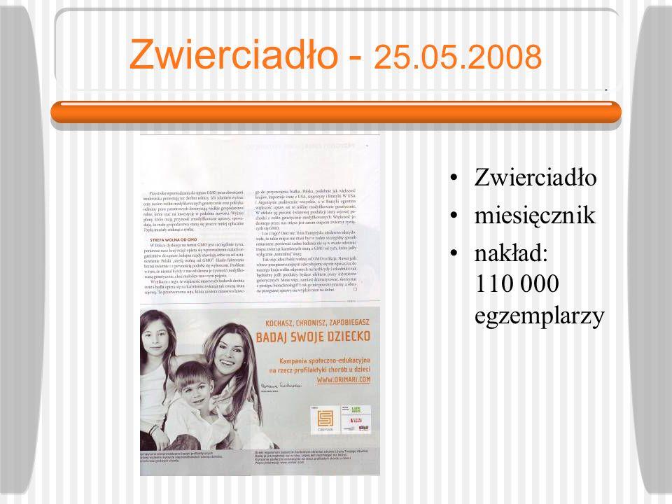 Zwierciadło - 25.05.2008 Zwierciadło miesięcznik nakład: 110 000 egzemplarzy