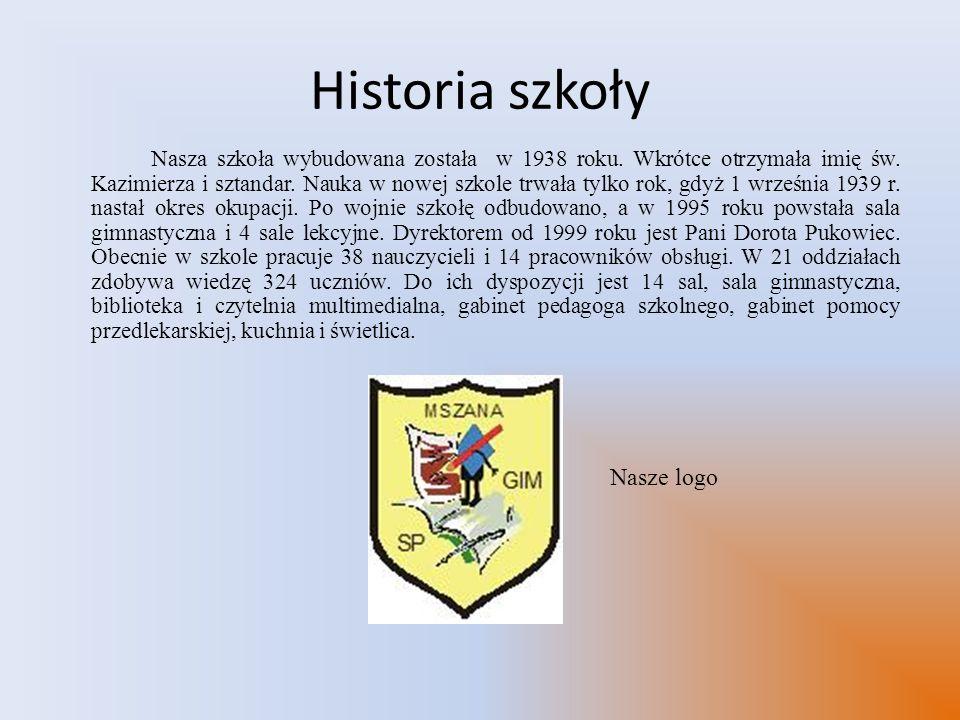 Historia szkoły Nasza szkoła wybudowana została w 1938 roku. Wkrótce otrzymała imię św. Kazimierza i sztandar. Nauka w nowej szkole trwała tylko rok,