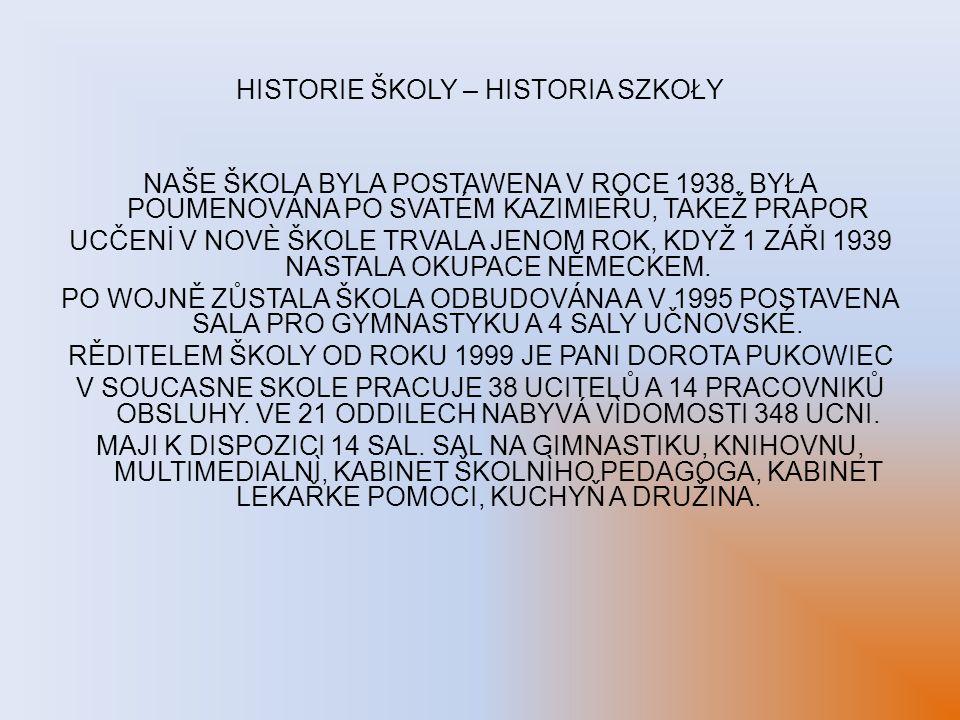 HISTORIE ŠKOLY – HISTORIA SZKOŁY NAŠE ŠKOLA BYLA POSTAWENA V ROCE 1938. BYŁA POUMENOVÁNA PO SVATÉM KAZIMIEŘU, TAKEŽ PRAPOR UCČENİ V NOVÈ ŠKOLE TRVALA