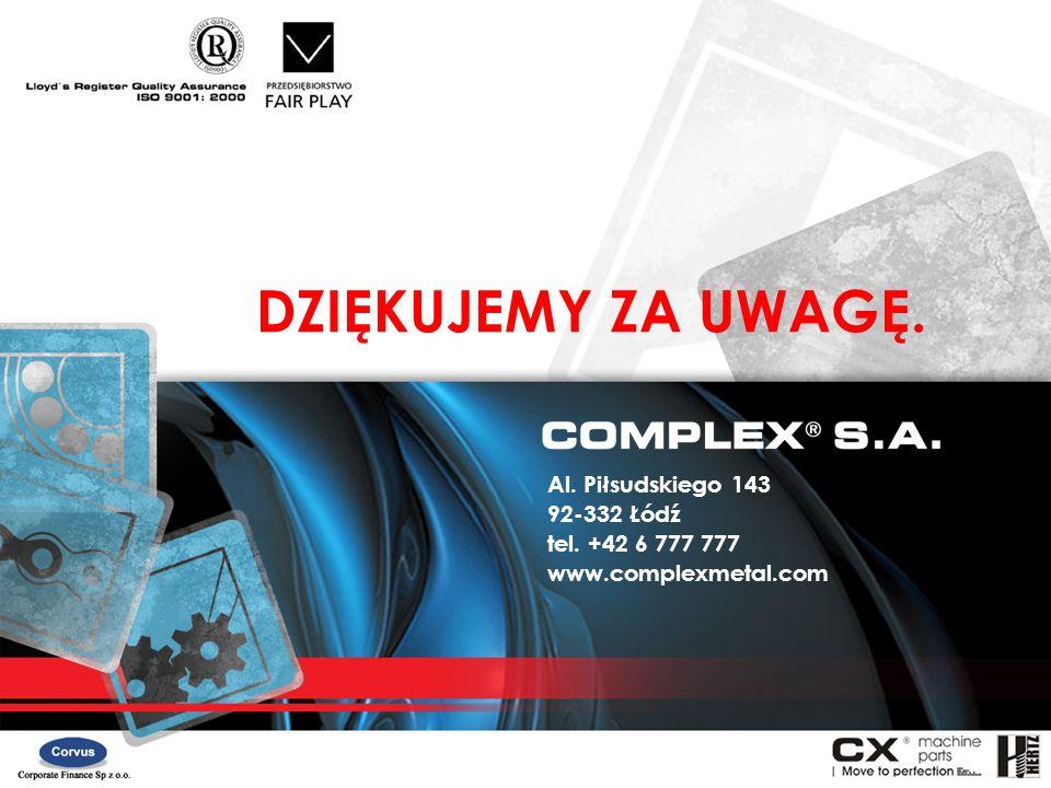 DZIĘKUJEMY ZA UWAGĘ. Al. Piłsudskiego 143 92-332 Łódź tel. +42 6 777 777 www.complexmetal.com