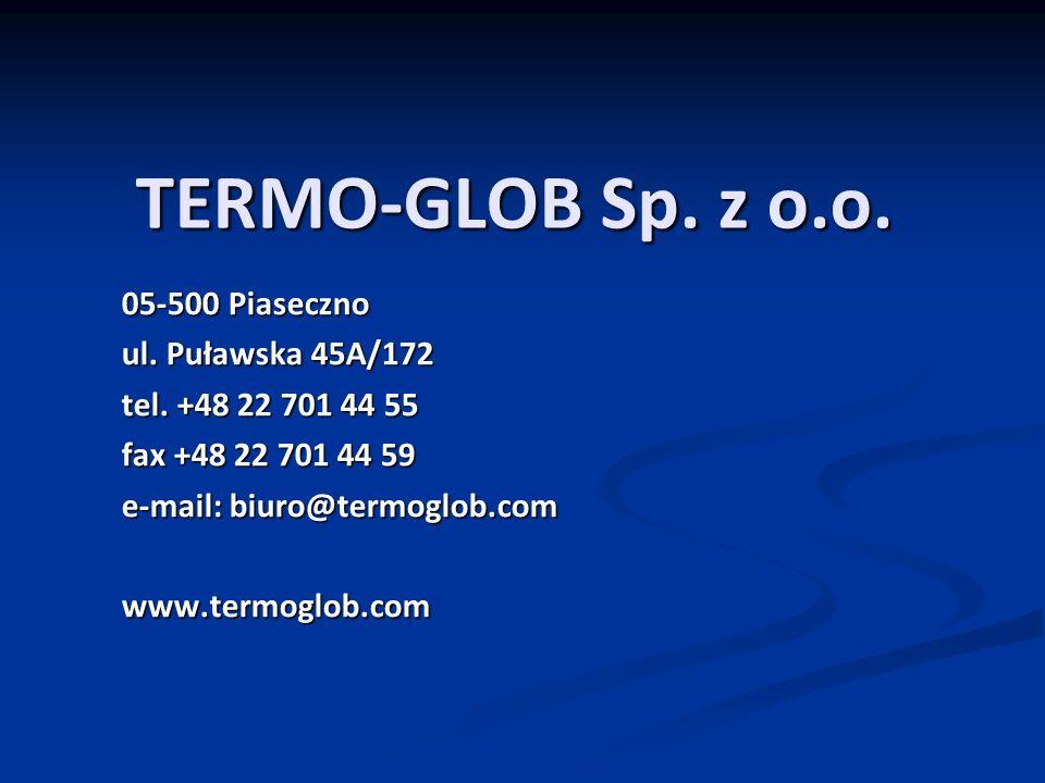 TERMO-GLOB Sp. z o.o. 05-500 Piaseczno ul. Puławska 45A/172 tel.