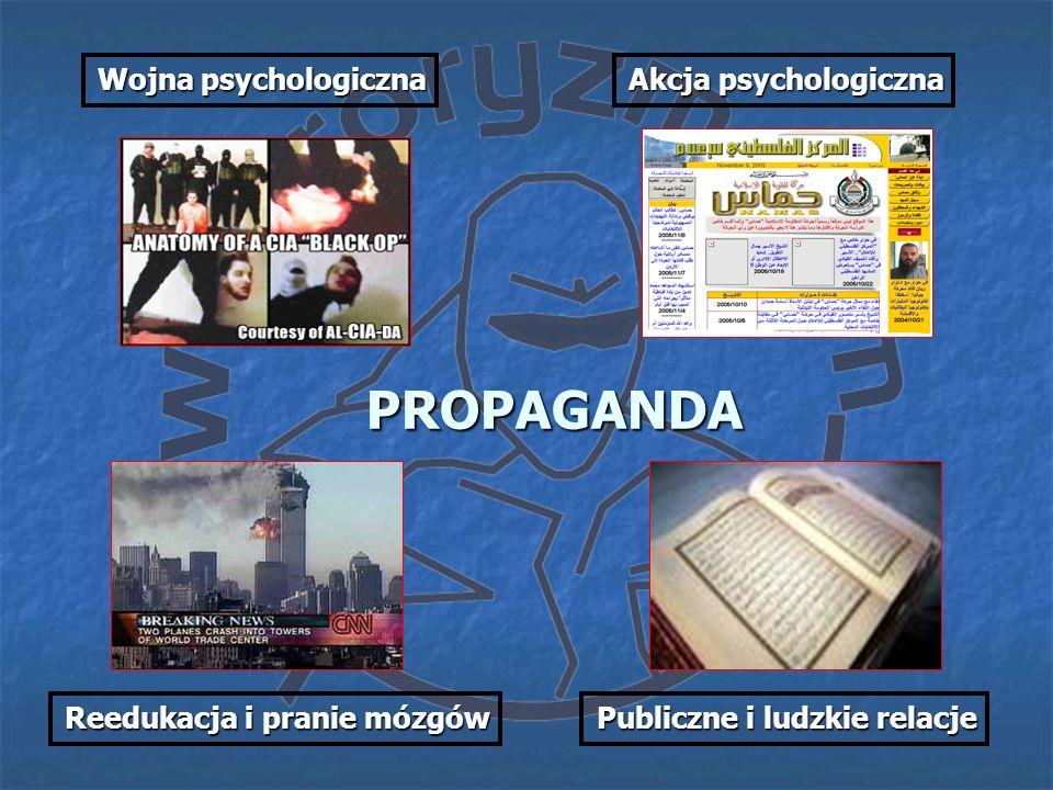 PROPAGANDA Akcja psychologiczna Wojna psychologiczna Reedukacja i pranie mózgów Publiczne i ludzkie relacje