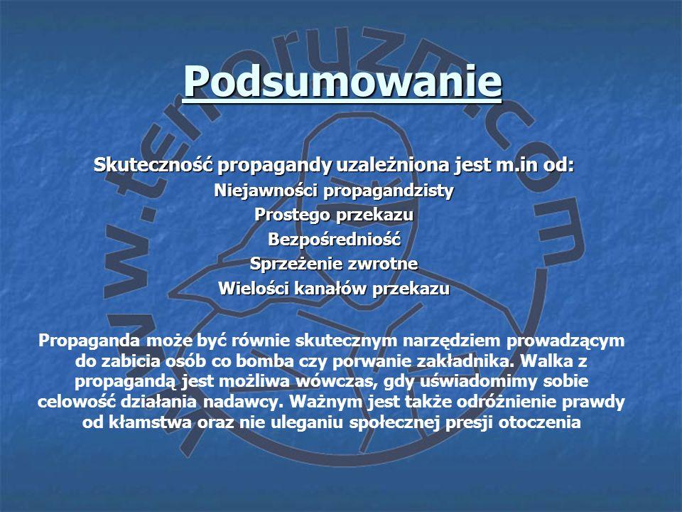 Podsumowanie Skuteczność propagandy uzależniona jest m.in od: Niejawności propagandzisty Prostego przekazu Bezpośredniość Sprzeżenie zwrotne Wielości