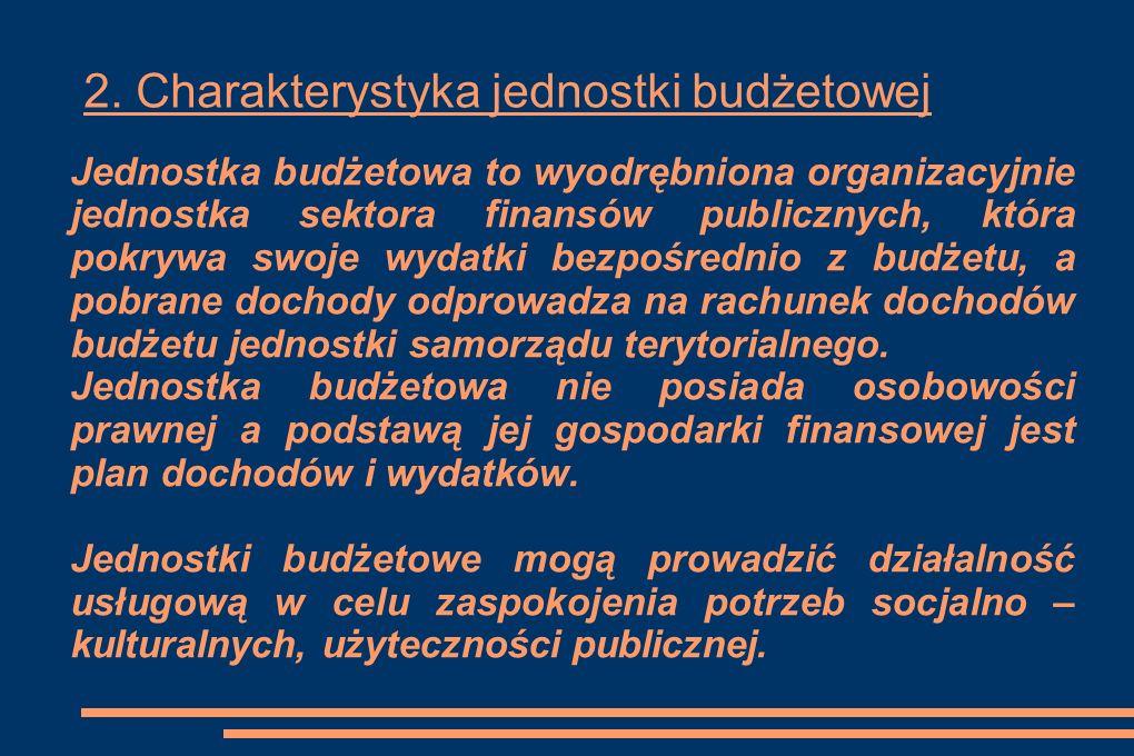 2. Charakterystyka jednostki budżetowej Jednostka budżetowa to wyodrębniona organizacyjnie jednostka sektora finansów publicznych, która pokrywa swoje