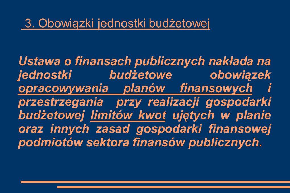 3. Obowiązki jednostki budżetowej Ustawa o finansach publicznych nakłada na jednostki budżetowe obowiązek opracowywania planów finansowych i przestrze