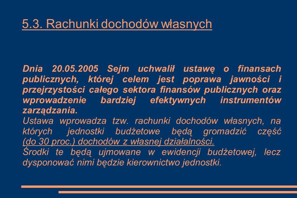 5.3. Rachunki dochodów własnych Dnia 20.05.2005 Sejm uchwalił ustawę o finansach publicznych, której celem jest poprawa jawności i przejrzystości całe