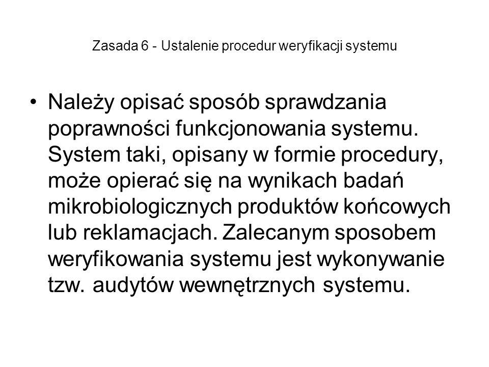 Zasada 6 - Ustalenie procedur weryfikacji systemu Należy opisać sposób sprawdzania poprawności funkcjonowania systemu. System taki, opisany w formie p