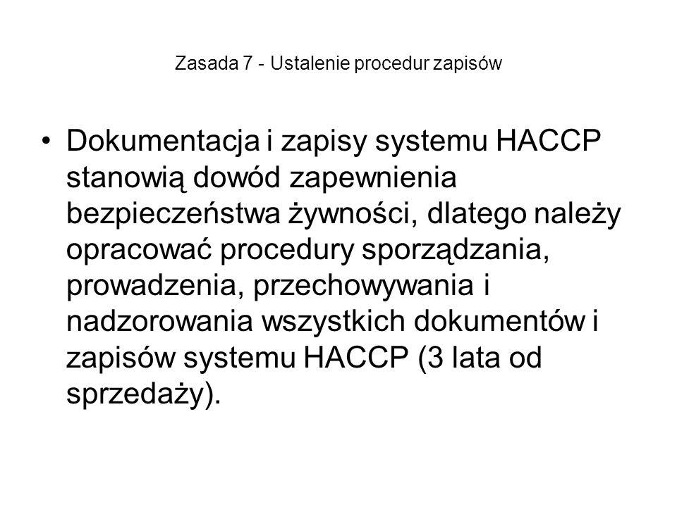 Zasada 7 - Ustalenie procedur zapisów Dokumentacja i zapisy systemu HACCP stanowią dowód zapewnienia bezpieczeństwa żywności, dlatego należy opracować