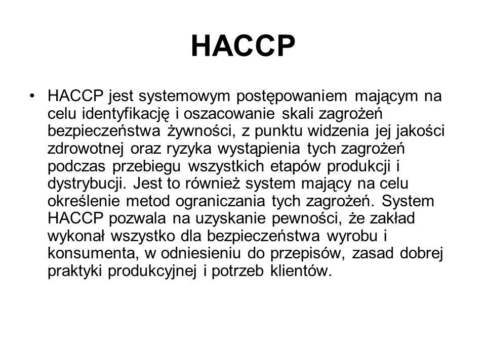 HACCP HACCP jest systemowym postępowaniem mającym na celu identyfikację i oszacowanie skali zagrożeń bezpieczeństwa żywności, z punktu widzenia jej ja