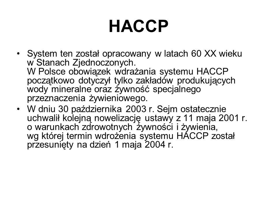 HACCP System ten został opracowany w latach 60 XX wieku w Stanach Zjednoczonych. W Polsce obowiązek wdrażania systemu HACCP początkowo dotyczył tylko