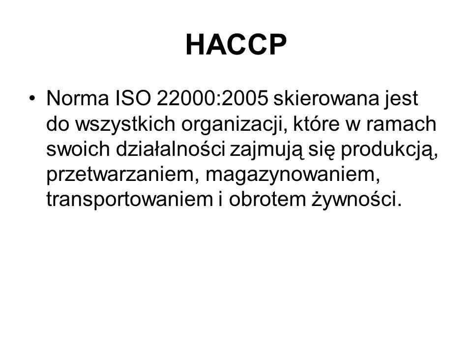 HACCP Norma ISO 22000:2005 skierowana jest do wszystkich organizacji, które w ramach swoich działalności zajmują się produkcją, przetwarzaniem, magazy