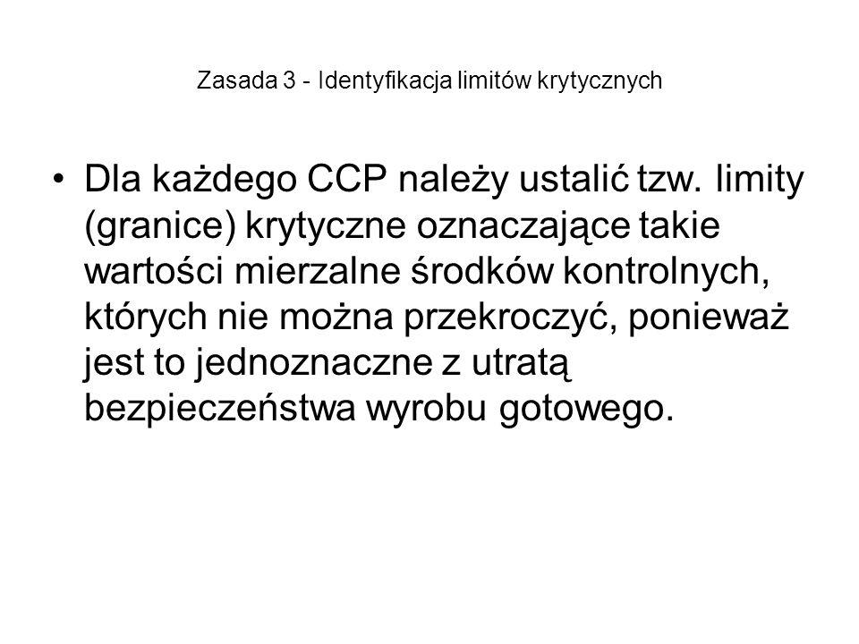 Zasada 3 - Identyfikacja limitów krytycznych Dla każdego CCP należy ustalić tzw. limity (granice) krytyczne oznaczające takie wartości mierzalne środk