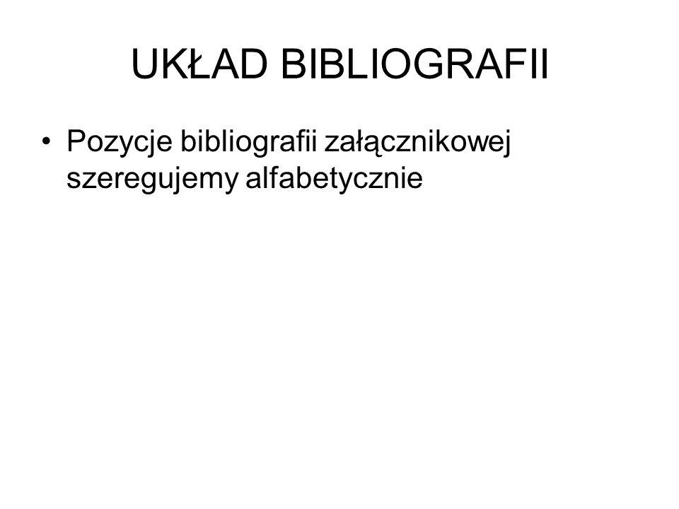 UKŁAD BIBLIOGRAFII Pozycje bibliografii załącznikowej szeregujemy alfabetycznie
