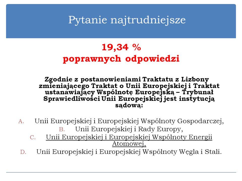 Pytanie najtrudniejsze 19,34 % poprawnych odpowiedzi Zgodnie z postanowieniami Traktatu z Lizbony zmieniającego Traktat o Unii Europejskiej i Traktat