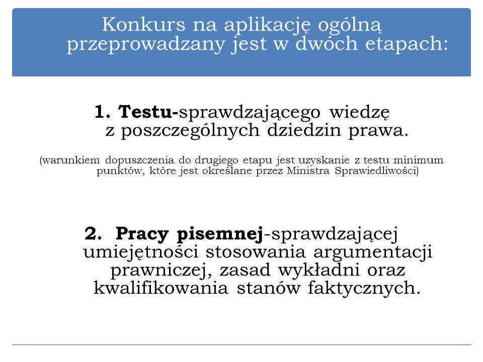 Konkurs na aplikację ogólną przeprowadzany jest w dwóch etapach: 1. Testu- sprawdzającego wiedzę z poszczególnych dziedzin prawa. (warunkiem dopuszcze
