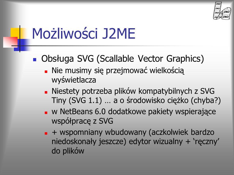 Obsługa SVG (Scallable Vector Graphics) Nie musimy się przejmować wielkością wyświetlacza Niestety potrzeba plików kompatybilnych z SVG Tiny (SVG 1.1)