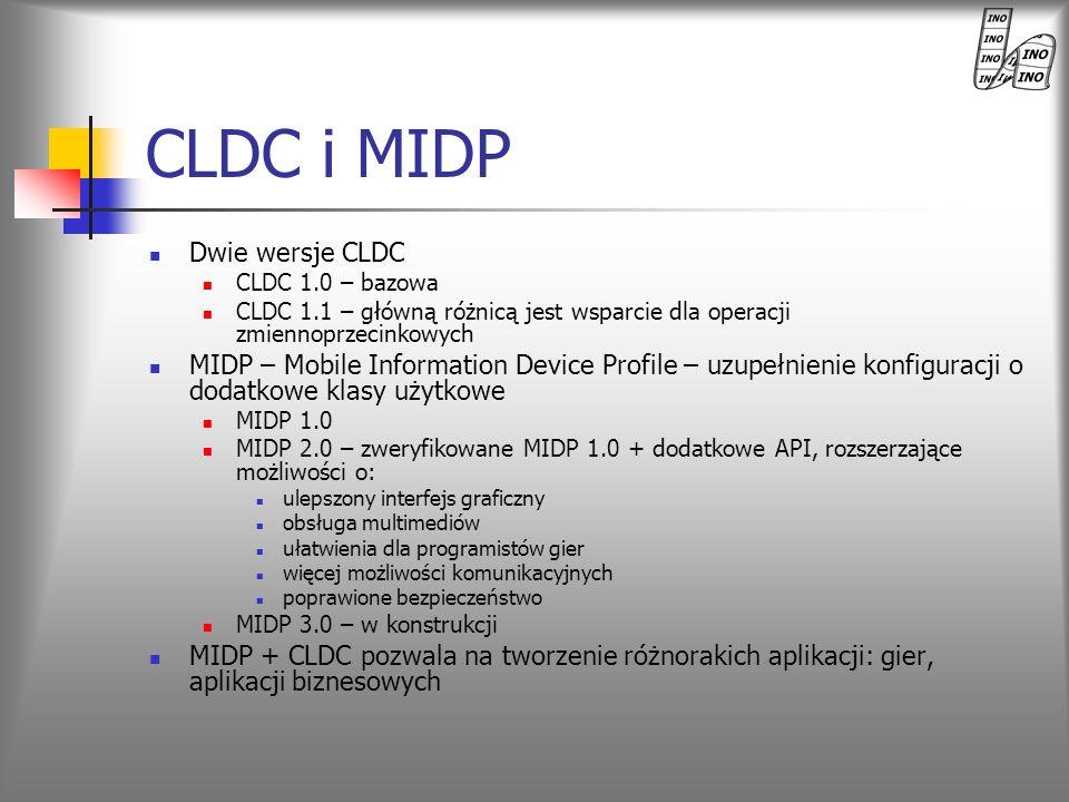 CLDC i MIDP Dwie wersje CLDC CLDC 1.0 – bazowa CLDC 1.1 – główną różnicą jest wsparcie dla operacji zmiennoprzecinkowych MIDP – Mobile Information Dev