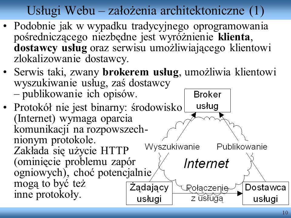 10 Usługi Webu – założenia architektoniczne (1) Podobnie jak w wypadku tradycyjnego oprogramowania pośredniczącego niezbędne jest wyróżnienie klienta,