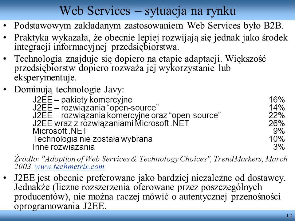 12 Web Services – sytuacja na rynku Podstawowym zakładanym zastosowaniem Web Services było B2B. Praktyka wykazała, że obecnie lepiej rozwijają się jed