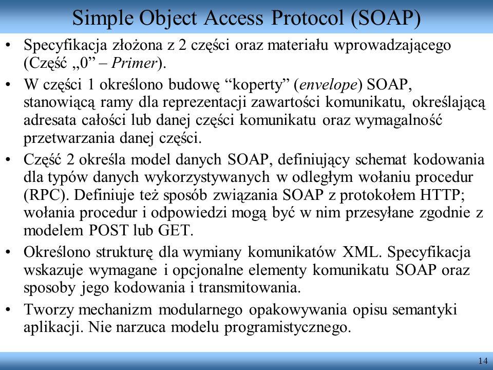 14 Simple Object Access Protocol (SOAP) Specyfikacja złożona z 2 części oraz materiału wprowadzającego (Część 0 – Primer). W części 1 określono budowę