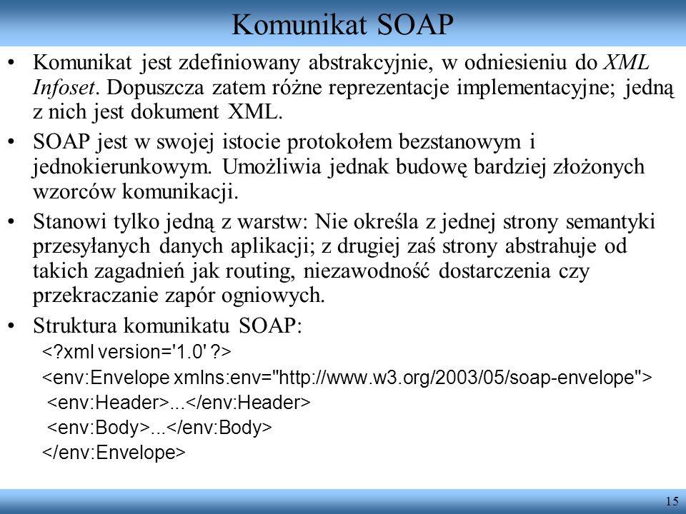 15 Komunikat SOAP Komunikat jest zdefiniowany abstrakcyjnie, w odniesieniu do XML Infoset. Dopuszcza zatem różne reprezentacje implementacyjne; jedną