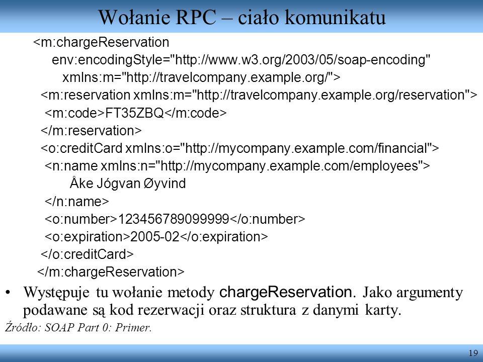 19 Wołanie RPC – ciało komunikatu <m:chargeReservation env:encodingStyle=