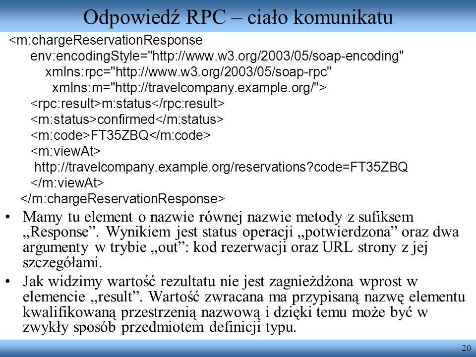 20 Odpowiedź RPC – ciało komunikatu <m:chargeReservationResponse env:encodingStyle=