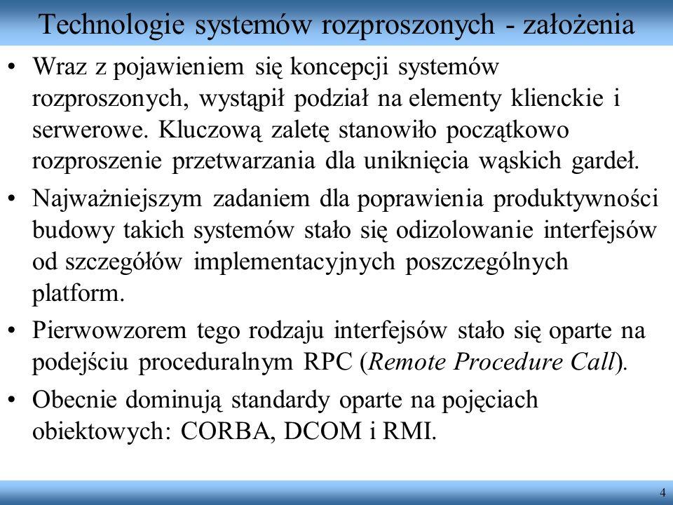 4 Technologie systemów rozproszonych - założenia Wraz z pojawieniem się koncepcji systemów rozproszonych, wystąpił podział na elementy klienckie i ser