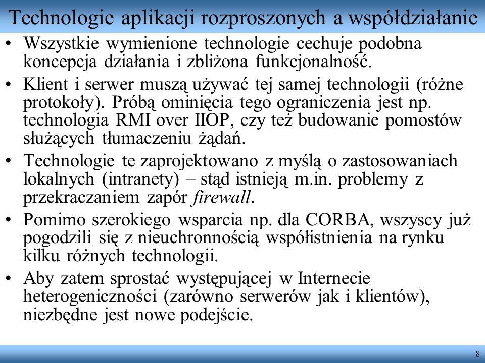 19 Wołanie RPC – ciało komunikatu <m:chargeReservation env:encodingStyle= http://www.w3.org/2003/05/soap-encoding xmlns:m= http://travelcompany.example.org/ > FT35ZBQ Åke Jógvan Øyvind 123456789099999 2005-02 Występuje tu wołanie metody chargeReservation.